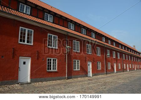 A view of a row of houses in the fortress complex in Copenhagen