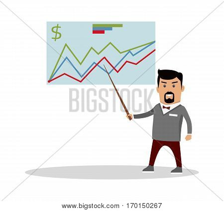 Financial forecast concept vector. Flat design. Economics masterclass illustration. Man with pointer standing at the blackboard with graphs, curves and infographics. Isolated on white background.