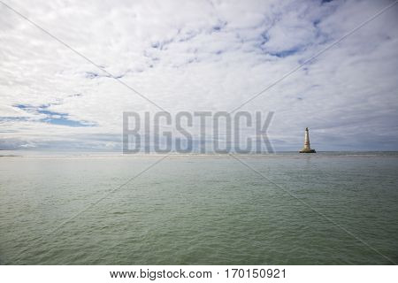 maritime seaside landscape with Cordouan Lughthouse, garonne estuary near Royan France