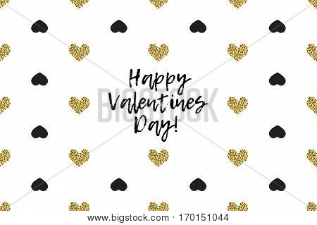 Valentine greeting card with text, black and gold hearts. Inscription - Happy Valentines Day