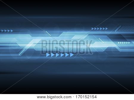 Dark blue abstract technology illustration design. Vector tech arrows background