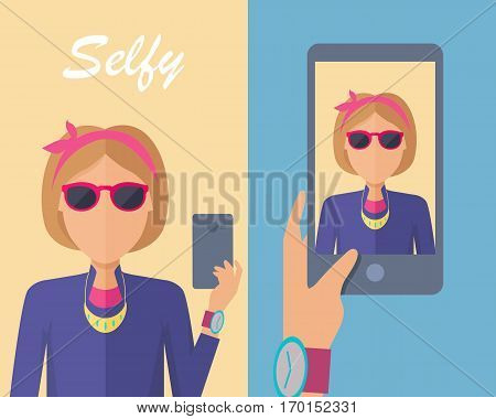 Selfy on smartphone. Young girl taking own self portrait with mobile phone. Modern life with selfie photo camera. Selfie smile, selfie concept. Woman shows her photo on displlay. Vector illustration