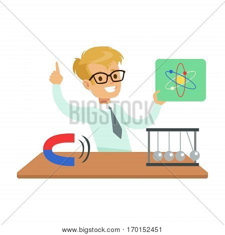 Boy Physicist And Physics Symbols, Kid Doing Science Research Dreaming Of Becoming Professional Scientist In The Future. Part Of Series With Children Working In Different Scientific Fields Vector Illustrations.