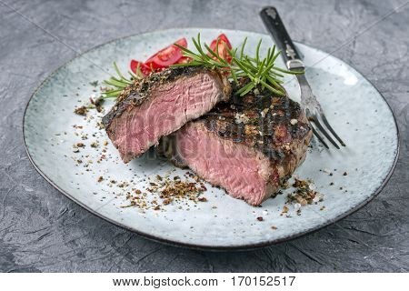 Barbecue Rib Eye Steak on Plate