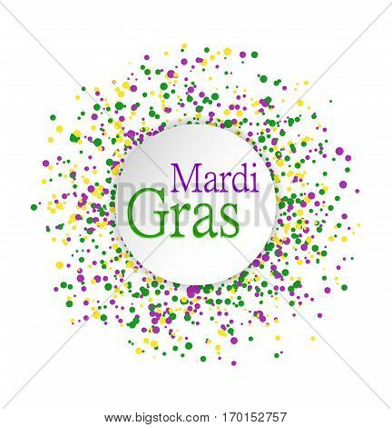 Mardi Gras abstract pattern made of colored dots on white background with colored words in center. Yellow green and purple confetti for carnival backdrop design element. Vector illustration