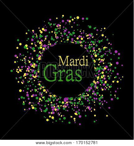 Mardi Gras abstract pattern made of colored dots on black background with colored words in center. Yellow green and purple confetti for carnival backdrop design element. Vector illustration