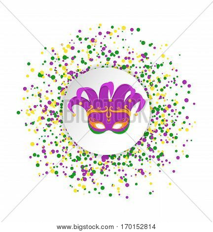 Mardi Gras abstract pattern made of colored dots on white background with colored clown mask in center.Yellow green and purple confetti for carnival backdrop design element. Vector illustration