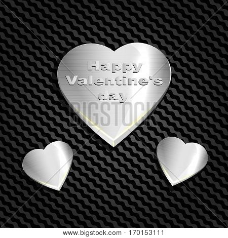 Metal heart on a background mesh of carbohydrate, websites and postcards. For congratulations on Valentine's day. Vector illustration.