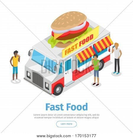 Fast food web banner. Eatery on wheels with hamburger on roof surrounded clients isometric vector on white background. Van food store with signboard. Illustration for cafe, snack bar web page design