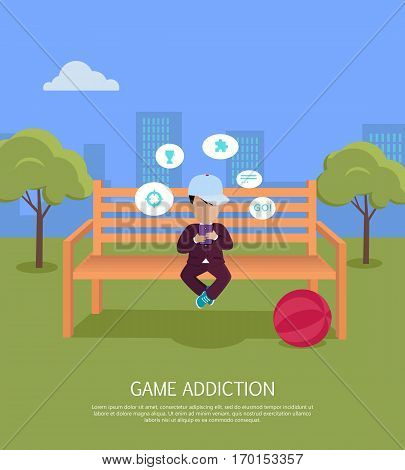 Game addiction banner. Boy whis smartphone sitting on wooden bench in the park. Boy with dialog window. Boy using tablet. Urban cityscape with boy, park, bench, trees, blue sky and white clouds