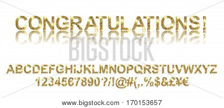 Congratulations. Gold Alphabetic Fonts