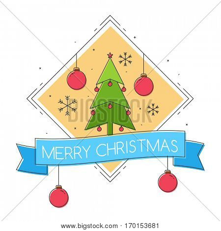Merry Christmas Celebrations Poster Design with Xmas Tree and Xmas Balls.