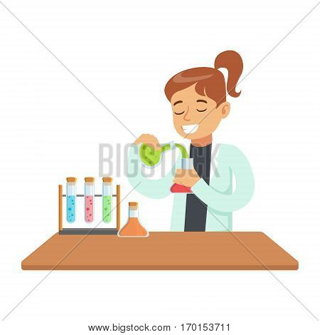 Girl Chemist Experimenting, Kid Doing Chemistry Science Research Dreaming Of Becoming Professional Scientist In The Future. Part Of Series With Children Working In Different Scientific Fields Vector Illustrations.