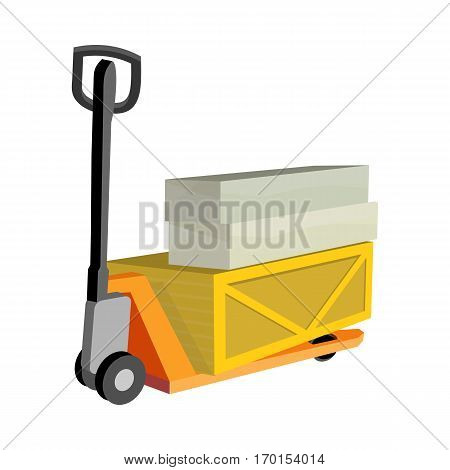 Hydraulic trolley jack with heavy boxes with goods. Buying building materials in supermarket with hand pullet truck. Delivering overall goods. Flat design illustration for ad and concepts