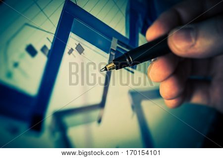Forex Trader Conceptual Image. Glassy Abstract Stat Graphs on the Computer Screen.