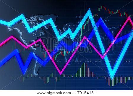 Global Currency Trader Concept 3D Illustration. Dark Theme.