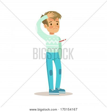 Sick Kid With Fever Feeling Unwell Suffering From Sickness Needing Healthcare Medical Help Cartoon Character. Ill Unhealthy Child Showing The Symptoms Vector Illustrations.