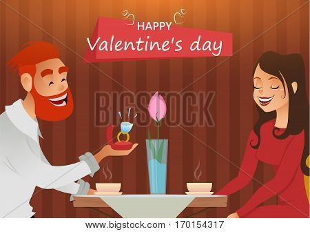 Couple in love romantic evening in restaurant or cafe young man presents ring with big diamond to his beloved. Greeting card. Date. Present on Valentines day 8 March engagement wedding.
