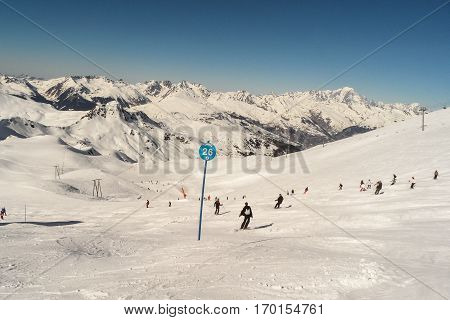 MARCH, 01,2012, LES ARCS, FRANCE: Skiers on the slopes of the ski area Les arcs France.