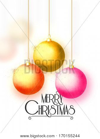 Shiny Christmas Balls on white background, Beautiful Merry Christmas Celebrations Banner.
