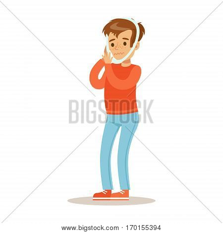 Sick Kid With Dental Gumboil Feeling Unwell Suffering From Sickness Needing Healthcare Medical Help Cartoon Character. Ill Child With Health Damage Showing The Symptoms Vector Illustrations.