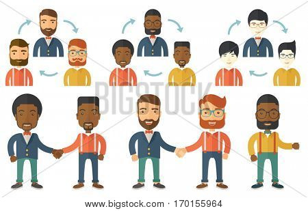 Two businessmen shaking hands. Business partners handshaking after successful business deal. Business partnership concept. Set of vector flat design illustrations isolated on white background.
