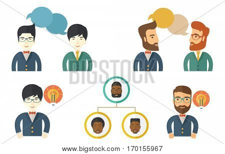 Two young businessmen discussing business plan. Smiling businessmen discussing project at meeting. Business discussion and teamwork concept. Set of vector illustrations isolated on white background.