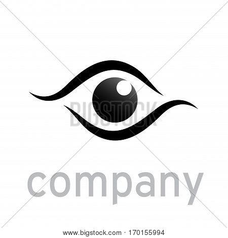 Vector sign black eye iris isolated on white