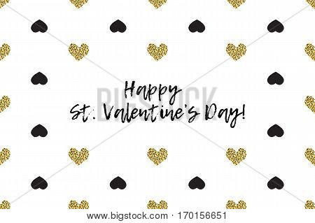 Valentine greeting card with text, black and gold hearts. Inscription - Happy St. Valentines Day