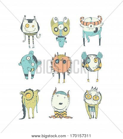 Set of cute colorful monsters hand drawn in doodle style isolated on white background. Lovely characters collection. Vector illustration good for kids illustration and childish design