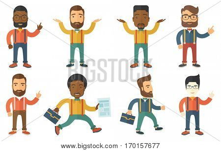 Stressed bancrupt businessman with spread arms. Depressed bancrupt businessman. Businessman unaware what to do with bankruptcy. Set of vector flat design illustrations isolated on white background.