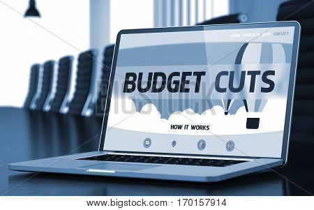 Budget Cuts on Landing Page of Mobile Computer Screen. Closeup View. Modern Meeting Room Background. Blurred Image. Selective focus. 3D Rendering.