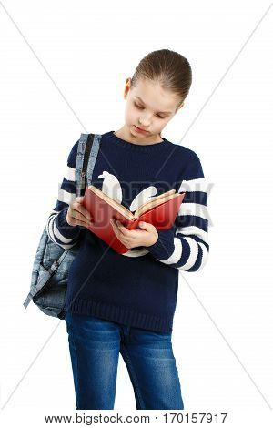 Sweet Girl Reading A Book.