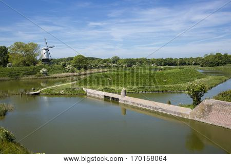 Typical Dutch spring landscape with a canal and a windmill, Molen de Koe, Veere, The Netherlands