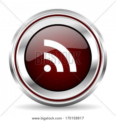 rss icon chrome border round web button silver metallic pushbutton