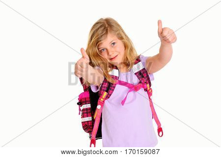 Blond Girl With Schoolbag And Thumbs Up