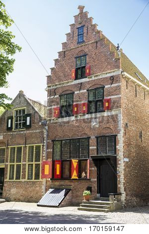 Old Dutch gothic gabble house old city Veere The Netherlands