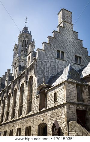 Old medieval townhall of Middelburg with summer sunlight and blue sky, The Netherlands
