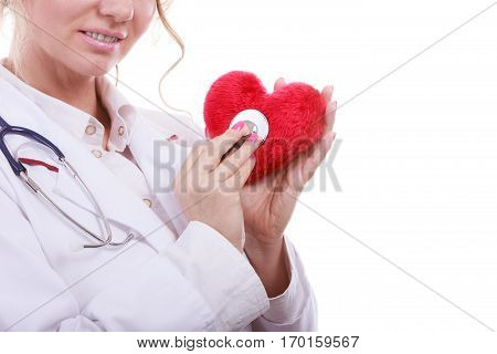 Medical examination of cardiology. Middle aged cardiologist with heart and stethoscope. Female doctor in white uniform makes measurement heartbeat. Isolated on white.