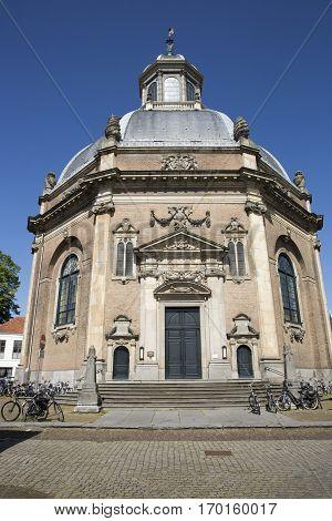 Oostkerk church Middelburg The Netherlands with summer blus sky background