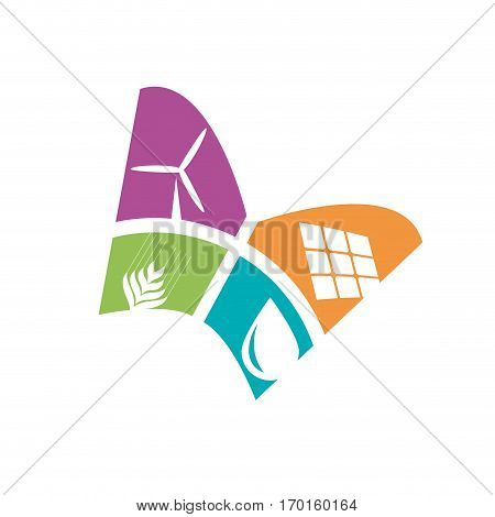 Vector sign butterfly alternative energy isolated on white