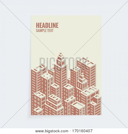 A4 vector isometric cover design template for booklet, brochure or book.