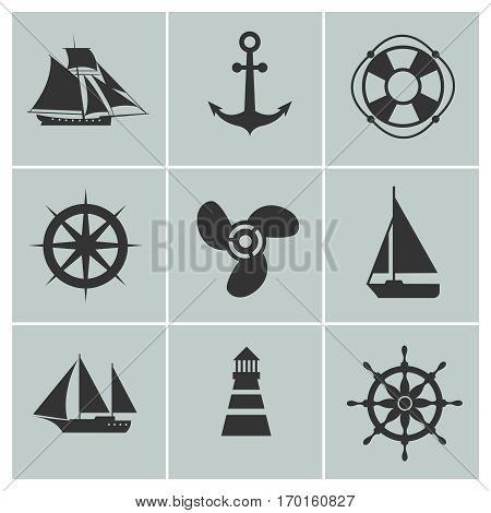 Marine and shipping icons. Boat, ship or yacht, anchor and life buoy vector silhouette signs. Set of marine symbols lighthouse and sail boat illustration