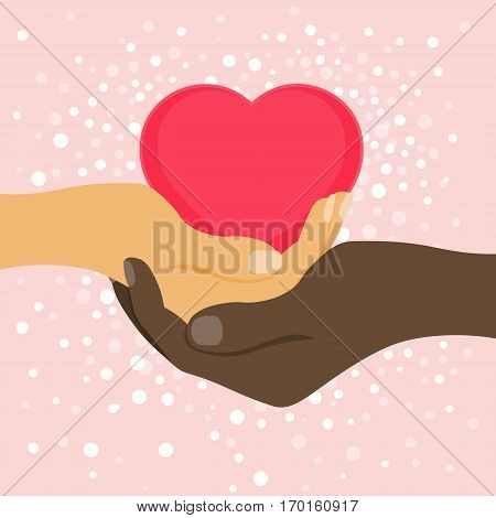 Valentine's Day. Man's hand holding a woman's hand with a heart. Love among nations