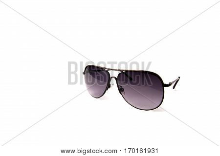 black frame sunglasses isolated on the white background.