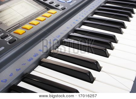 Keys of a musical instrument.Synthesizer.