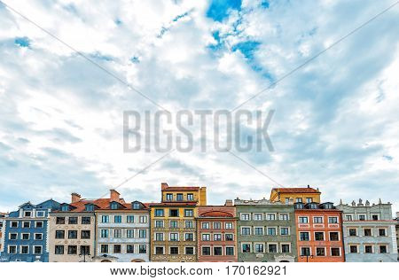 Image of colorful old houses in the main town square in Warsaw, Poland