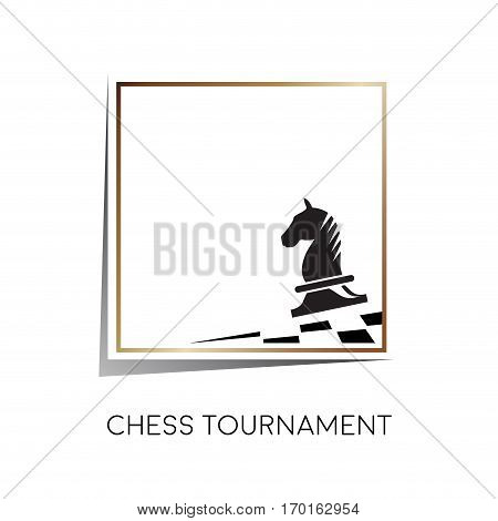 Vector sign horse of chess isolated on white
