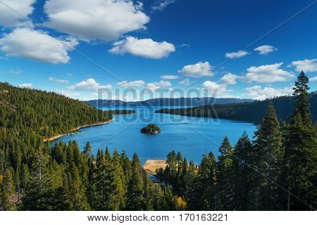 Lake Tahoe in famous California mountains - national park sierra nevada