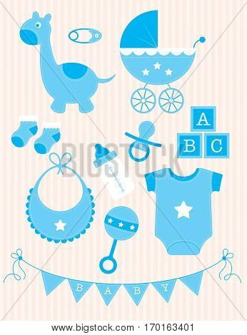A collection of blue toys and objects for a baby boy